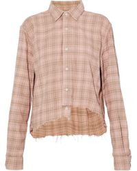 Current/Elliott - The Mell Asymmetric Frayed Checked Cotton-twill Shirt - Lyst