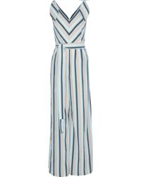 Lela Rose - Knotted Striped Seersucker Jumpsuit Sky Blue - Lyst