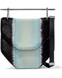 M2malletier - Woman Calf Hair And Patent-leather Shoulder Bag Silver - Lyst