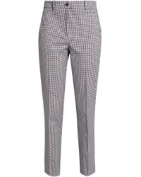 Michael Kors - Cropped Gingham Cotton-blend Tapered Trousers - Lyst