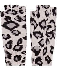Autumn Cashmere | Leopard-print Cashmere Fingerless Gloves | Lyst