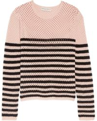 Emilio Pucci - Striped Open-knit Cashmere Sweater Pastel Pink - Lyst