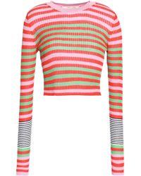 Diane von Furstenberg - Cropped Striped Ribbed-knit Top - Lyst