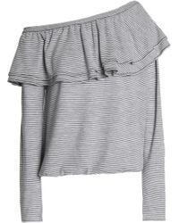 Brunello Cucinelli - One-shoulder Ruffled Striped Wool And Cashmere-blend Top - Lyst