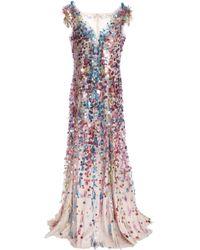 Jenny Packham Embellished Tulle Gown Multicolour