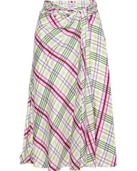 9365f804cd Prabal Gurung - Woman Moore Tie-front Checked Silk-twill Midi Skirt Off-