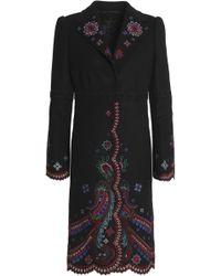 Roberto Cavalli - Embroidered Wool-blend Coat - Lyst