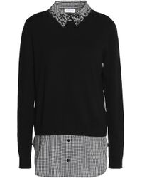 Claudie Pierlot - Marylou Layered Gingham Poplin And Cotton-blend Jumper - Lyst