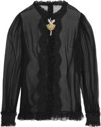 Dolce & Gabbana - Ruffle-trimmed Embellished Silk-blend Chiffon Shirt - Lyst