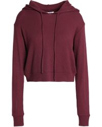 LNA - Woman Cropped Thermal Stretch-modal Jersey Hoodie Brick - Lyst
