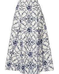 Notte by Marchesa - Printed Cotton And Silk-blend Midi Skirt - Lyst