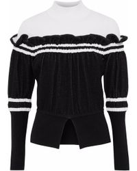 3.1 Phillip Lim - Ruffled Two-tone Knitted Turtleneck Jumper - Lyst