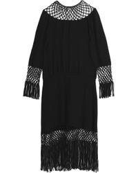 Valentino - Fringe-trimmed Open Knit-paneled Silk Midi Dress - Lyst