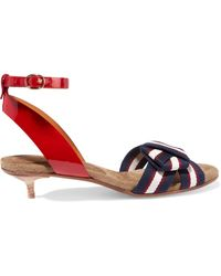 Étoile Isabel Marant - Polly Patent-leather And Striped Canvas Sandals - Lyst