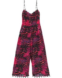 Matthew Williamson - Cropped Pompom-trimmed Printed Silk Jumpsuit - Lyst