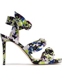 Jimmy Choo - Kris Knotted Printed Satin Sandals Lime Green - Lyst