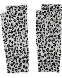 Autumn Cashmere - Leopard-print Cashmere Fingerless Gloves Animal Print - Lyst
