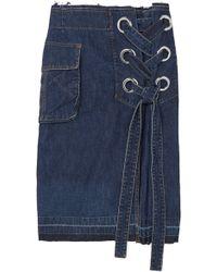 Sacai - Woman Lace-up Frayed Denim Skirt Dark Denim - Lyst