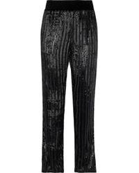 db6564aaab Ash Metallic Striped Velvet Straight-leg Pants Black