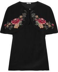 Vilshenko - Lily Rose Cape-effect Floral-print Silk Crepe De Chine Top - Lyst