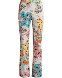 Just Cavalli - Floral-print Cotton-blend Twill Bootcut Trousers - Lyst
