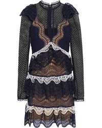 Self-Portrait Tiered Guipure Lace And Broderie Anglaise Mini Dress Navy - Blue