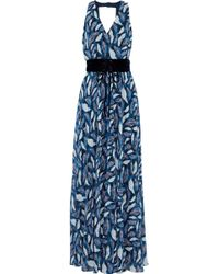 Mikael Aghal - Belted Printed Chiffon Gown - Lyst