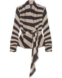 Gareth Pugh - Striped Silk-blend Chiffon Wrap Top - Lyst