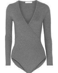 Kain - Rita Wrap-effect Ribbed-knit Bodysuit - Lyst