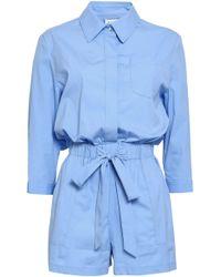 MILLY Gathered Cotton-blend Poplin Playsuit Light Blue