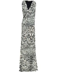 Roberto Cavalli - Woman Animal-print Cutout Stretch-jersey Maxi Dress Ivory - Lyst