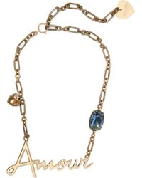 Lanvin - Woman Gold-tone Crystal Necklace Brass Size -- - Lyst