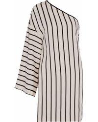 Rosetta Getty - One-shoulder Striped Twill Mini Dress - Lyst