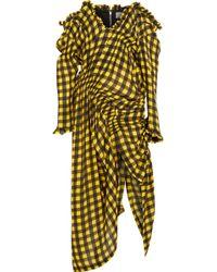 Preen By Thornton Bregazzi - Off-the-shoulder Shirred Gingham Silk-jacquard Dress - Lyst