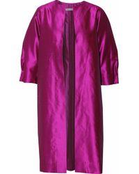 Oscar de la Renta - Pleated Silk-shatung Jacket - Lyst
