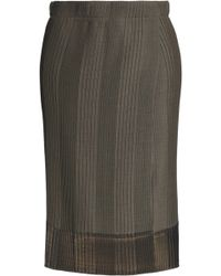 Brunello Cucinelli - Wrap-effect Pleated Stretch-knit Skirt - Lyst