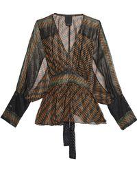 Anna Sui - Printed Silk-chiffon Blouse Light Brown - Lyst