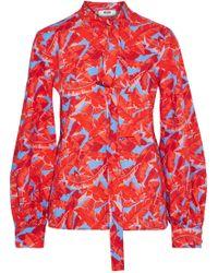 MSGM - Woman Pussy-bow Printed Cotton-poplin Shirt Red - Lyst