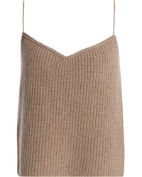 Theory - Woman Ribbed Cashmere Camisole Mushroom - Lyst