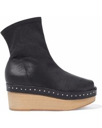 Rick Owens - Studded Leather Wedge Ankle Boots - Lyst
