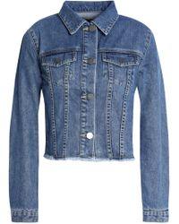 Nicholas - Frayed Denim Jacket Mid Denim - Lyst