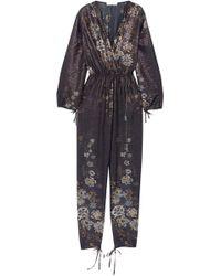 Chloé - Metallic Floral-print Cotton-blend Jumpsuit - Lyst