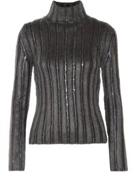 Nina Ricci - Cutout Sequin-trimmed Ribbed Wool-blend Turtleneck Sweater - Lyst