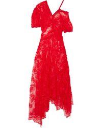 Preen By Thornton Bregazzi - Ruched Lace Midi Dress - Lyst