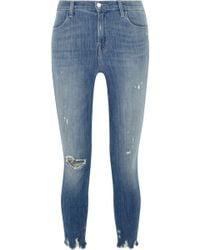 J Brand - Alana Cropped Distressed High-rise Skinny Jeans Mid Denim - Lyst
