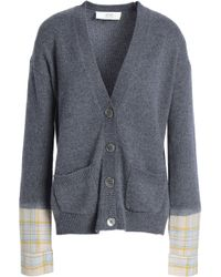 Vanessa Bruno Athé - Woman Panelled Checked Wool-blend Cardigan Anthracite - Lyst