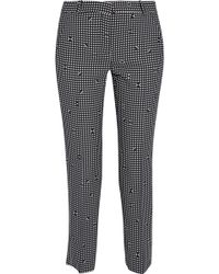 Carven - Cropped Gingham Crepe Slim-leg Pants - Lyst