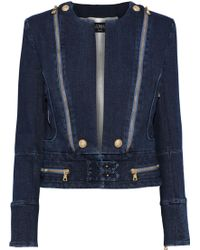 aac65255bace Balmain - Woman Zip-detailed Printed Denim Jacket Dark Denim - Lyst