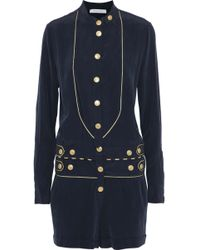 Balmain - Metallic-trimmed Button-detailed Washed-silk Playsuit - Lyst
