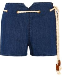 The Great - Rope-detailed Denim Shorts - Lyst